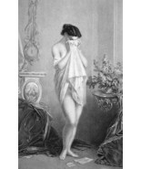 NUDE Young Maiden Love Letter Sorrow Weeping - 1880s Photogravure Print - $8.44
