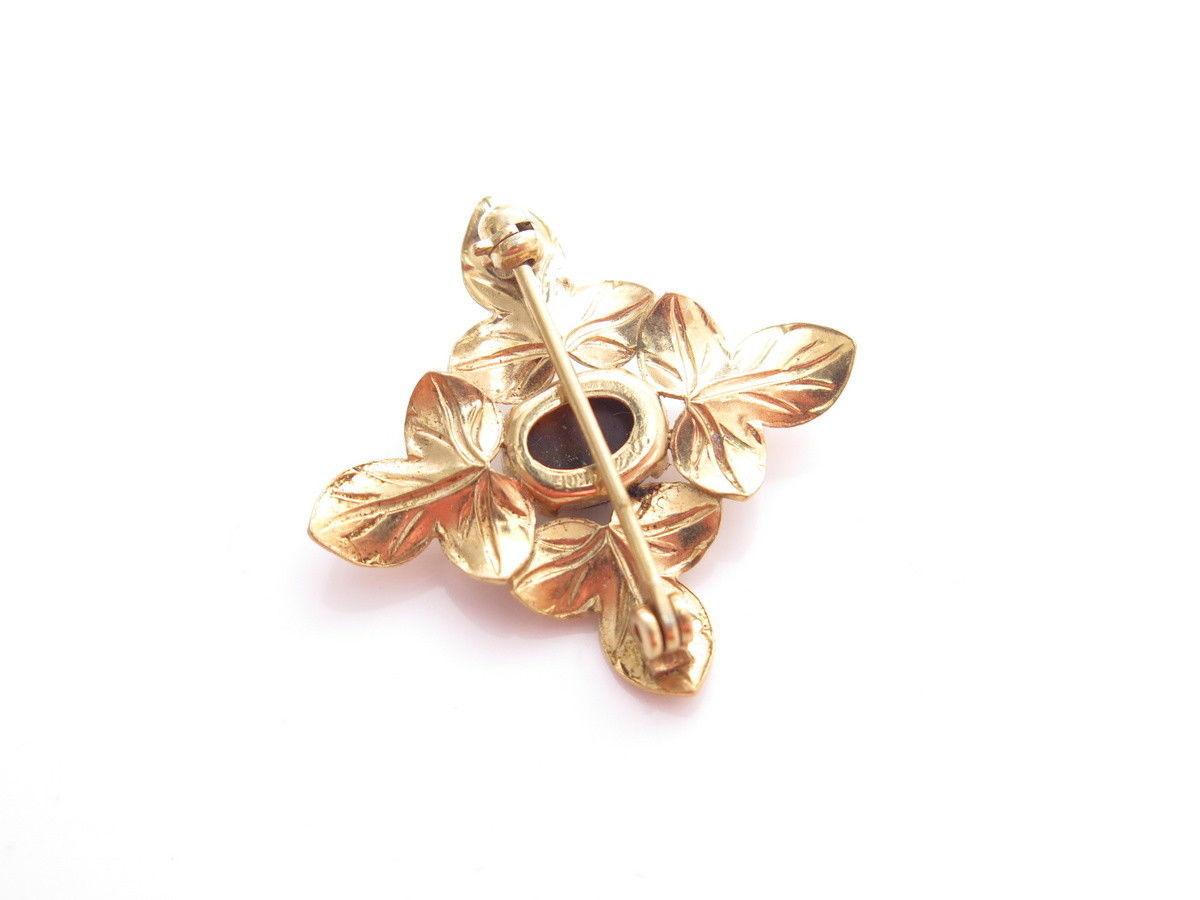 VINTAGE WELLS GOLD FILLED 14K GF SMALL FLORAL LEAF TIGER'S EYE PIN BROOCH*A846