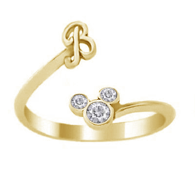 Primary image for Mickey Mouse Disney Initial B Ring Round Cut Diamond 18k Gold Plated 925 Silver