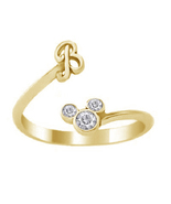 Mickey Mouse Disney Initial B Ring Round Cut Diamond 18k Gold Plated 925... - £17.40 GBP