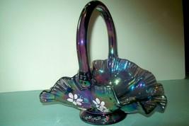Vintage Fenton Amethyst Carnival Glass Ruffled Basket-Signed by Artist N... - $47.78