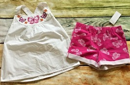 Gymboree Spice Market 7 Butterfly Cotton Top Pink Knit Shorts Outlet NWT - $14.95