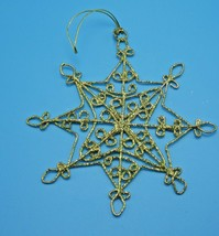 A Gold GLITTER FILIGREE Snowflake Star CHRISTMAS ORNAMENT METAL CRAFT - $4.99