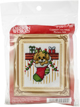 "Design Works Counted Cross Stitch Kit 2""X3""-Puppy In Stocking Mini (18 Count) - $7.81"