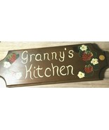 """Granny's Kitchen Vintage Sign Flowers Strawberries 6"""" x 16""""  Wood Paint ... - $17.61"""