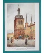 PRAGUE Praha Chuch of Saint Peter Belfry - 1902 COLOR Print - $22.50