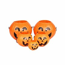 Plastic Pumpkin Bucket Pouch Halloween Decoration Party Prop Trick Treat... - $3.95+