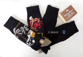 TOMMY BAHAMA Men's CASUAL CREW Socks RELAX & CRAB 4 Pairs Black OSFM - New! - $20.95