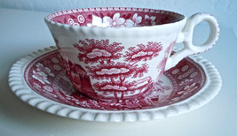 Spode Pink Tower Flat Cup and Saucer Set - $15.24