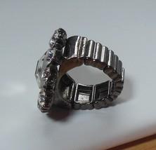 Large Shiny Tear-Drop Shaped Rhinestone Silver-Tone Stretch Ring  - $15.99