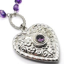 SILVER 925 NECKLACE, FLUORITE FACETED PURPLE, HEART WITH FLOWERS, 70 CM image 2