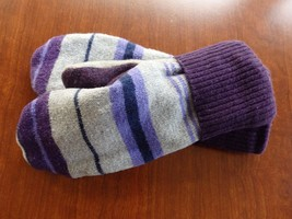 Purple Stripe Wool Sweater mittens Handmade  one size fits most - $29.72 CAD