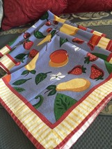 "Grandmas Estate 20"" X 20"" Fruits Made India Four Blue Napkins (FL) - $19.80"