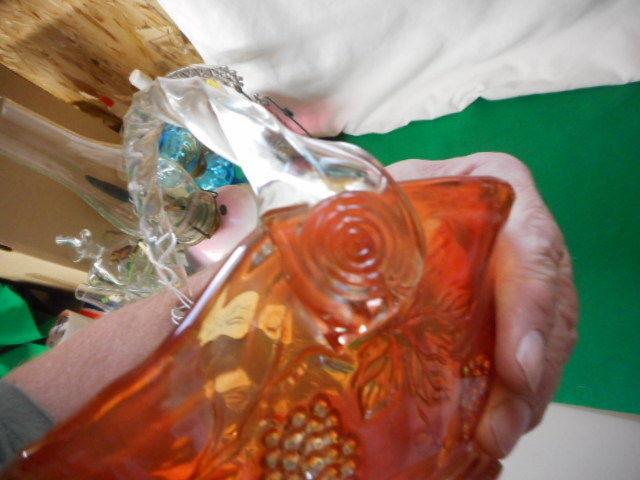 "Fenton Art Glass Carnival Glass Basket Grape 8"""