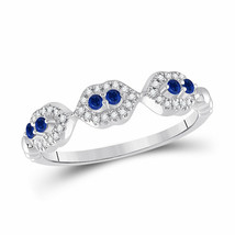 14kt White Gold Womens Round Blue Sapphire Diamond Band Ring 1/4 Cttw - £257.29 GBP