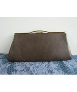 Vintage Brown Faux Leather Clutch Cocktail Handbag 1960s Mad Men Style P... - $14.87