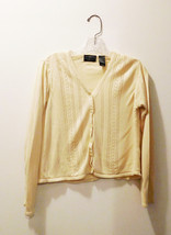 Liz Claiborne Pale Yellow Button Down Cardigan Sweater - Women's Size Pe... - $15.01