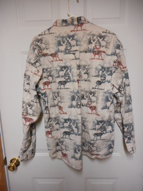 North River Outfitters Men's XL Deer Buck Print Shirt Long Sleeve Button Shirt