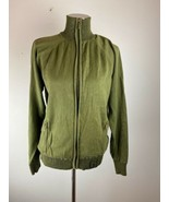 Vintage Guess Womens Sweater Jacket M Medium Green Full Zip Mock Neck Sp... - $49.49