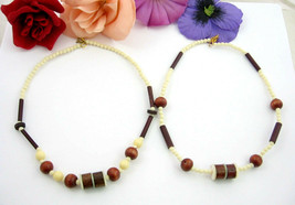 Pair of WOOD BEAD CHOKER NECKLACES Vintage Brown Cream Off White Beaded ... - $16.99