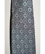 VTG FENDI Cravette Cream Blue Black Geometric 100% Silk Necktie Tie - $49.49