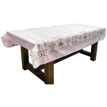 60 x 138-Inch Rectangular Tablecloth White Shabbat Chalom Jewish, Stain ... - $35.85