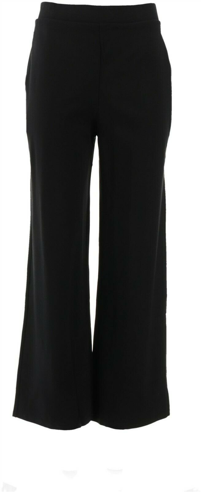 Primary image for BROOKE SHIELDS Timeless Ponte Wide-Leg Pants Black L NEW A346103