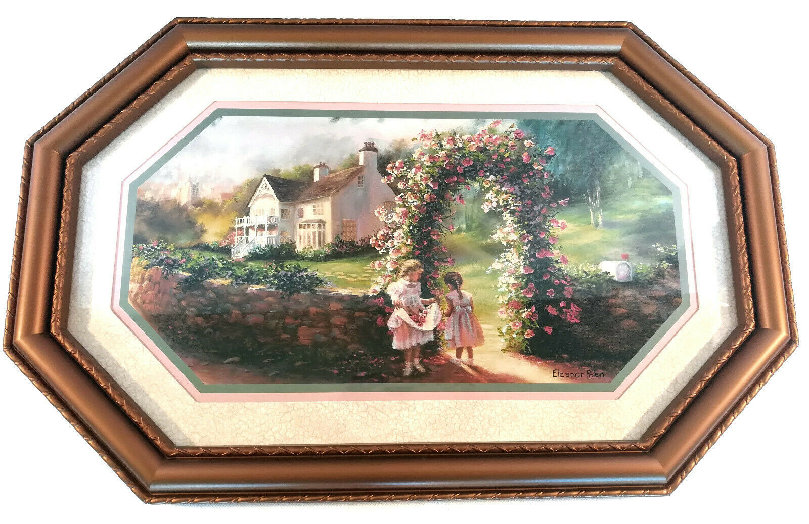 Primary image for Eleanor Polen Rose Arbor Cottage Girls Litho Homco Print Syroco Frame Wall Art
