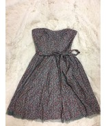 American Eagle Women's Dress Size 6 Gray Floral Strapless Tie Back - $22.76