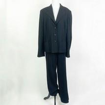 Escada 2 Piece Wool Pinstripe Suit Pants and Blazer Jacket Black Brown S... - $105.68