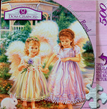 Masterpieces Jigsaw Puzzle Round Art Dona Gelsinger Circle Sister Angels 500 Pcs - $16.34