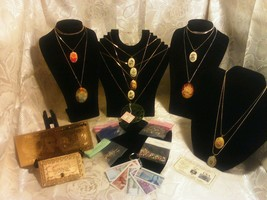 FREE S&H! MIXED LOT~Glass Rhinestones+ Necklace W/Cab Charms+GOLD$20 W/C... - $26.40