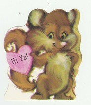 Vintage Valentine Card Fox Pink Heart Hi Ya Ambassador 1982 Die-Cut - $6.92