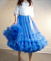 Copen Blue Layered Midi Tulle Skirt Plus Size A-line Layered Puffy Midi Skirt  image 2