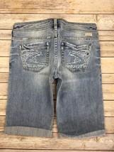 Silver J EAN S Shorts Buckle Low Rise Tia Stretch Denim Jean Short 29 New - $17.85
