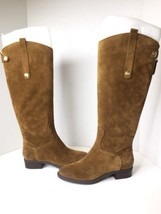 Sam Edelman Penny Tan Caramel Velutto Suede Leather Tall High Riding Boo... - $121.54