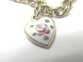 Lovely Guilloche style rose on Heart Park Lane Charm Bracelet Vintage Je... - $17.69