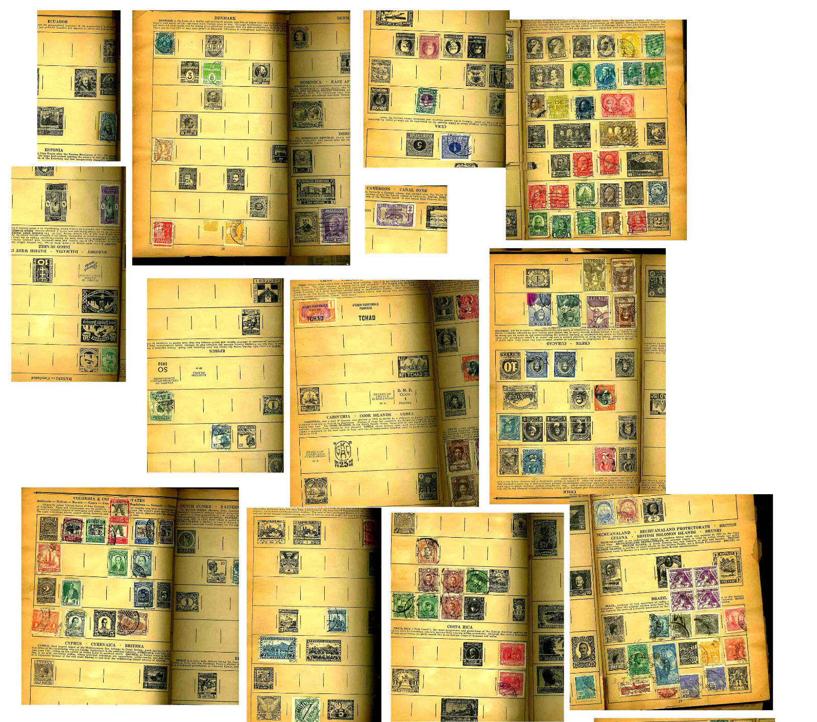 1934 IVORY POSTAL STAMP BOOK-MANY COUNTRIES