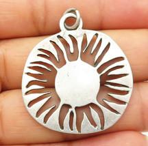 925 Sterling Silver - Vintage Cut Out Sun Design Round Drop Pendant - P6627 - $30.19