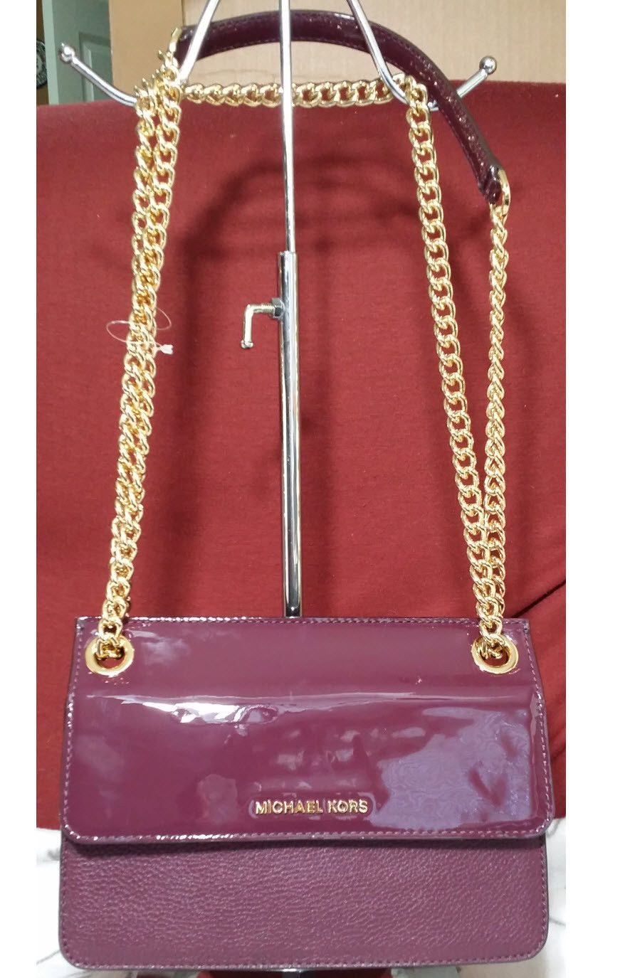 8eba3bd7218c Michael Kors Whitney Leather Crossbody Shoulder Bag Bedford Double Gusset  Plum - $137.61
