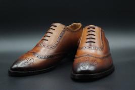 Handmade Men's Brown Burnished Wing Tip Heart Medallion Dress/Formal Leather Oxf image 3