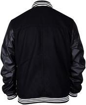 Black Varsity Elgort Bomber Letterman Faux Leather Sleeves Jacket image 4