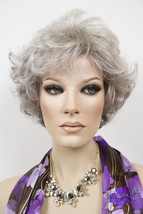 Pure White w/ 5% Med Brown Blend, graduating to Dk Brown w/ 65% Grey Short Wigs - $110.40