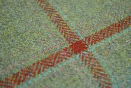 Tweed Material Por Metro O PATIO EN VERDE CON rojo cristal patrón