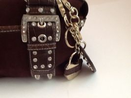 Kathy Van Zeeland Brown Studded Rhinestone Buckle Straps Faux Suede Two Keychain image 3