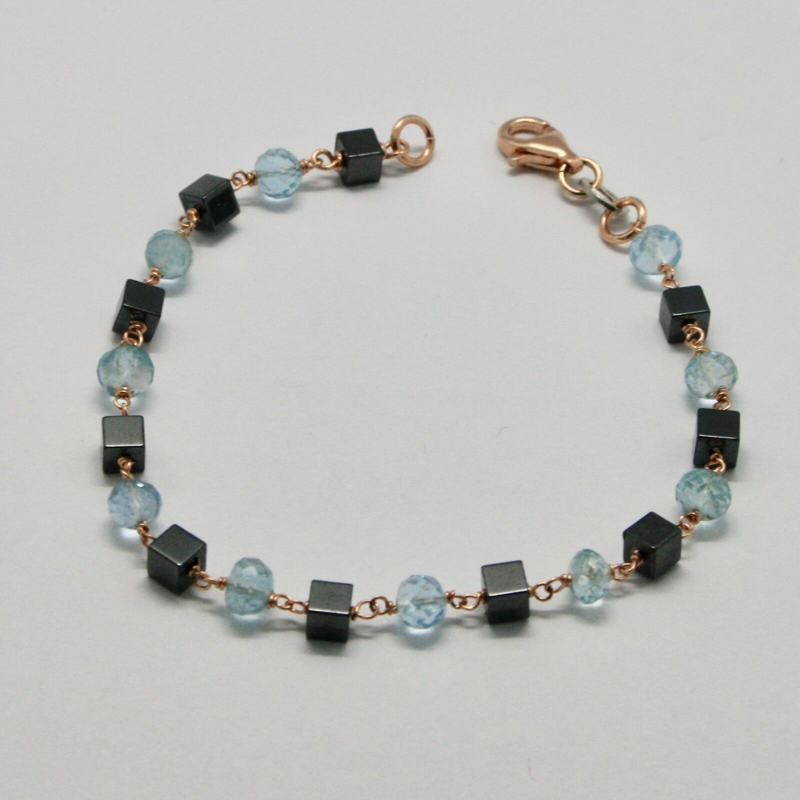 Silver Bracelet 925 with Aquamarine Faceted and Hematite Made in Italy image 3