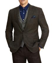 Brooks Brothers Mens Brown Herringbone Check Regent Fit Wool Blazer 42S ... - $158.39