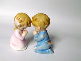 Praying Boy and Girl in Pajamas Figurines, Lefton, 1950s - $18.00