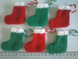 Christmas Stockings  6 x  CUTE UNIQUE  Knitted  FREE uk P&P - $5.15