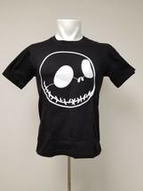 Skeleton Face T Shirt White Print on Black Unisex S Small - $24.49